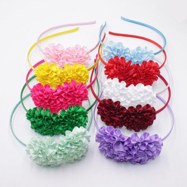 2018 Sweet Colors Flowers Hairband For Girl Cute Silk Floral Hair Bands Kids Hair Bow Headband Hair Accessories
