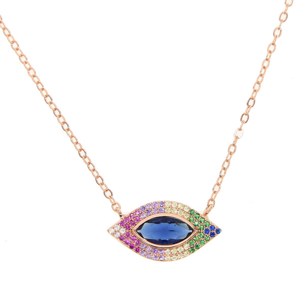 2018 new style crystal paved hamsa fatima heart shape blue evil eye charm pendant nacklace for women fashion dainty cz necklace