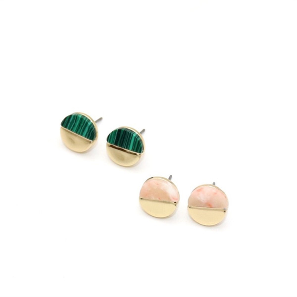 6 Colors Natural Stone Earrings Druzy Crystal Stud Gold Plated Metal Ear Stud Jewelry for Women Men