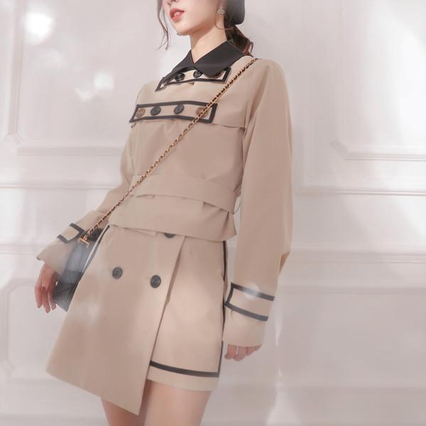 Ubei2018 Multi-button black border khaki color jacket set Korea version long sleeve fashion jacket sets two piece coat women