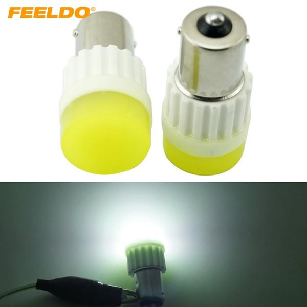 best selling FEELDO White BA15S 1156 S25 COB 10W Ceramic Crystal LED Light Car LED Bulb Reverse Turn Lights Backup Light #2714