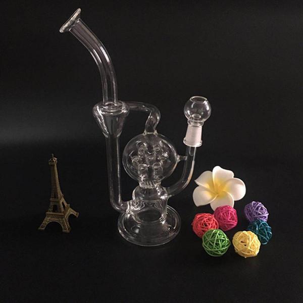 Reciclagem de vidro bongo tubo de óleo de vidro tubo de fumar tubo de água de vidro com cúpula e prego (GB-253)