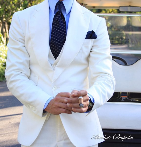 Latest Coat Pant Designs Custom Made White Formal Men Business Suit Groomsmen 3 Pieces Groom Suits For Men Wedding Tuxedos 2018
