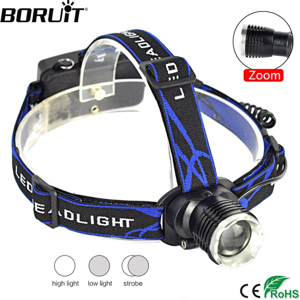 BORUiT RJ31 XML T6 LED Headlamp 3-Mode Zoomable Headlight DC Charger Head Torch Camping Fishing  by 18650 Battery