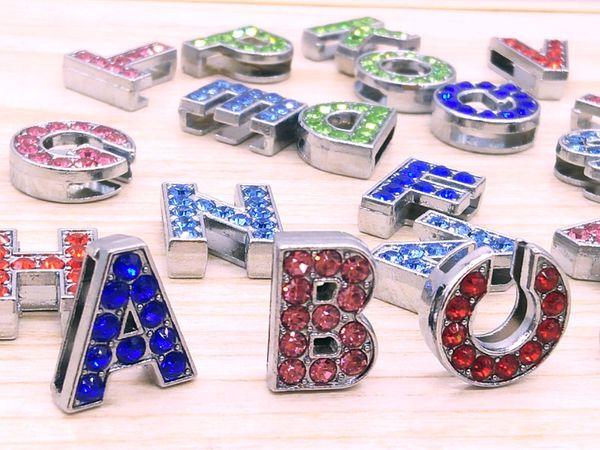 26pieces/lot 10mm colour full rhinestone slide letters A-Z diy charms fit 10mm Wristbnad Bracelets women Ribbon accessories wholesale