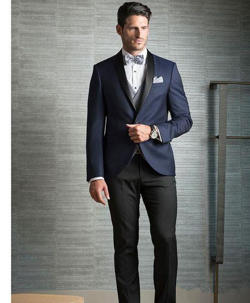 Classic Cheap Three Pieces Dark Navy Men Suits For Wedding Slim Fit Groomsmen Tuxedos One Button Formal Men Business Suit (jacket+pant+vest)