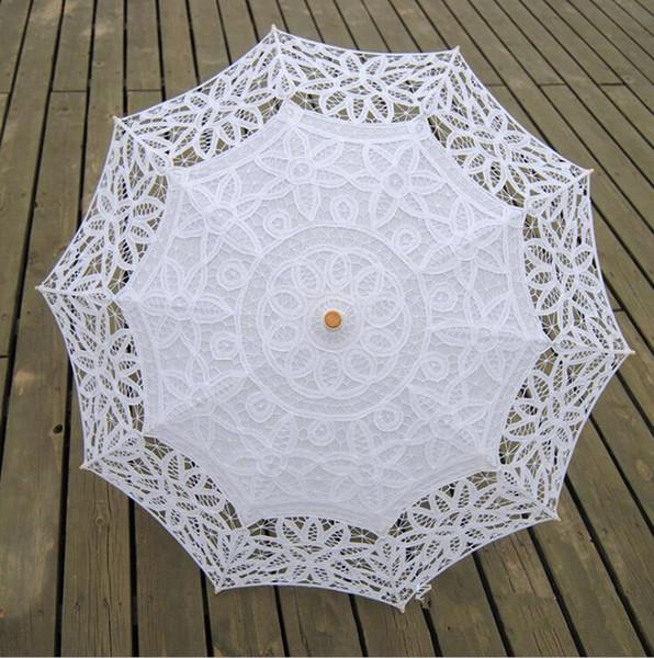 Ivory White Lace Wedding Ombrelloni a mano Ombrelli Appliques giardino Ombrelloni da sposa per damigella d'onore nuziale Diametro Wedding vendita calda