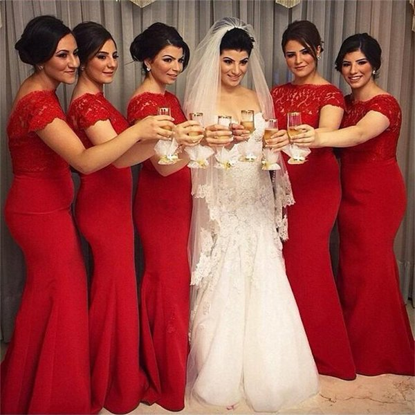 2019 New Bridesmaid Dresses Mermaid Cap Sleeves Backless Applique Lace Party Dress Maid Of Honor Dress for Wedding Guest Gowns Plus Size Red