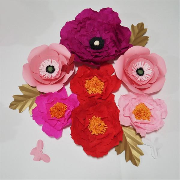 Compre Flores Artificiais De Papel Crepom Gigante Folhas Borboletas Evento De Casamento Deco Bebê Berçário Janelas Decorações De Exibição De