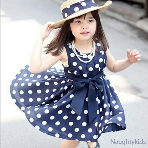 2017 Summer Polka Dot Girls Dress ,for 2~6y Baby Girls Wave Point Dress Kids Wear Casual Children Clothing, 2 Color Available