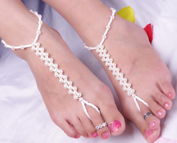 Moda Imitação de Pérolas Charm Braceletes Tornozeleiras para As Mulheres Verão Pé Cadeia Bohemian beads Jóias Praia Com Os Pés Descalços Sandália Tornozeleira Pulseira