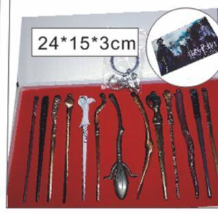 13 pcs 1 set Harry Potter Baguette Hermione Dumbledore Sirius Voldemort Fleur Baguettes Magiques Cosplay Pendentif avec boîte KKA5742
