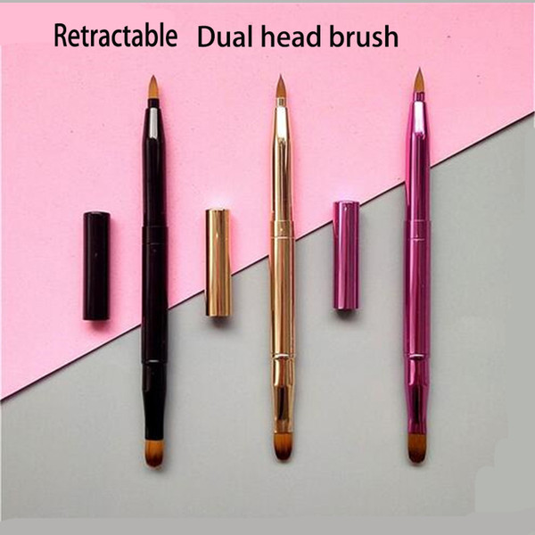 Metal Handle Makeup dual head Lip Brush Make Up Portable Lipstick Lip Gloss Adjustable Cosmetic Brush for Eyeshadow DHL free shipping