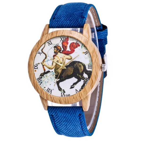 Classic Vintage Demin Men Shape Dial Colorful Strap Quartz Fashion Watch Fashionable Popular Dropshipping Girls Valentine Gifts