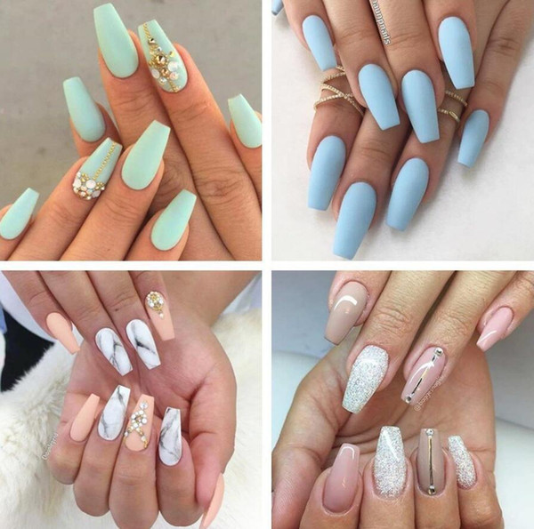 top popular 500Pcs bag Coffin Nails Long Ballerina Nail Tips Square Head French Fake False Nails ABS Artificial 10 Sizes Nature Transparent 2021