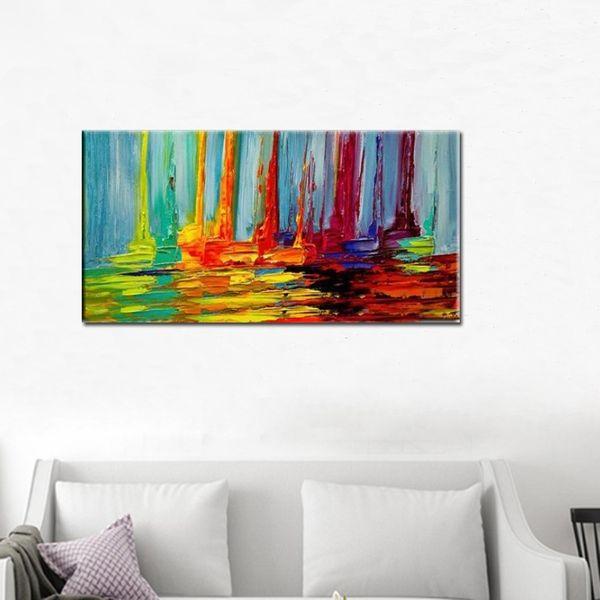 Alta Qualidade 100% Pintados À Mão Abstrata Moderna Vela Colorida Faca de Paleta Pintura A Óleo Artes Marciais Artesanais Barcos Imagem Da Lona