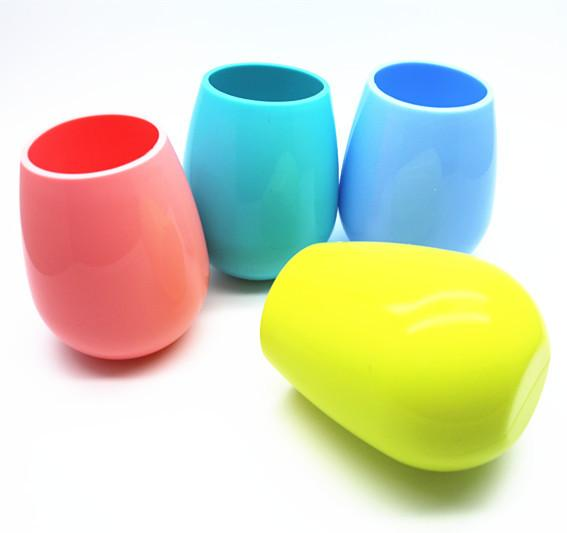NEW stemless silicone wine glass colored stemless silicone water cup unbreakable soft egg shape red wine glasses 400ml drinkware