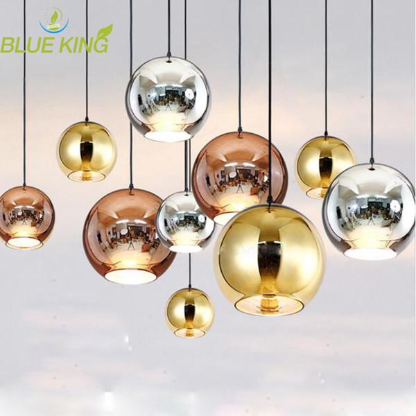 Modern Copper/Sliver/Gold glass ball lampshade Inside Mirror pendant Light E27 Bulb LED indoor Home Pendant Lamp