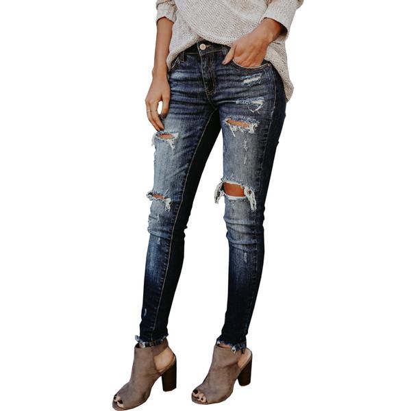 2018 New Women Jeans Cotton High Waist Elastic Ripped Jeans Slim Vintage Holes Denim Boyfriend Cuffs For Women Pencil Pant
