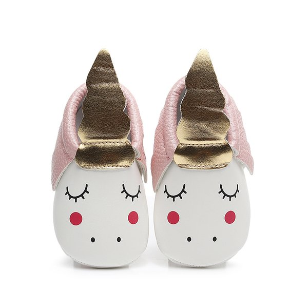 Cute Unicorn Girls Baby Shoes PU Leather Gold Soft Sole Moccasins Party Shoes