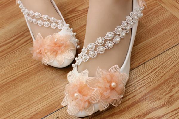 Orange Flower Wedding Shoes Low Heels Round Toe Beading Lace Strap