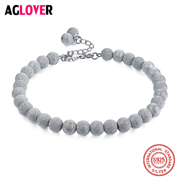 Italy Frosted Craft 925 Sterling Silver 4/5/6mm Beads Charm Bracelets Woman Fashion Brand Jewelry