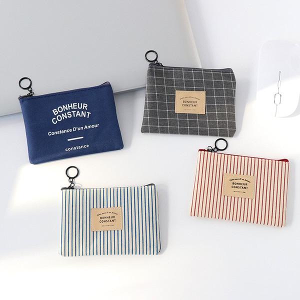 1 STÜCK Unisex Leinwand Geldbörse Kartenschlüssel Mini Geldbörse Tasche Tasche Kleine Reißverschluss Münze Kartenhalter Brieftasche 4 Farben Erhältlich Neu