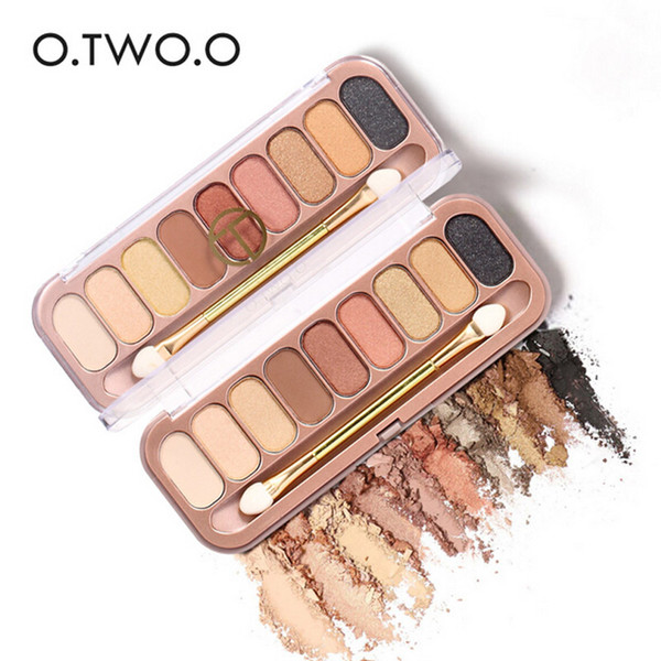 O.TWO.O 9 Colors Palette Eyeshadow with Double Headed Brush Shimmer Glitter Eye Shadow Long-lasting Waterproof Matte Eyeshadow DHL ship