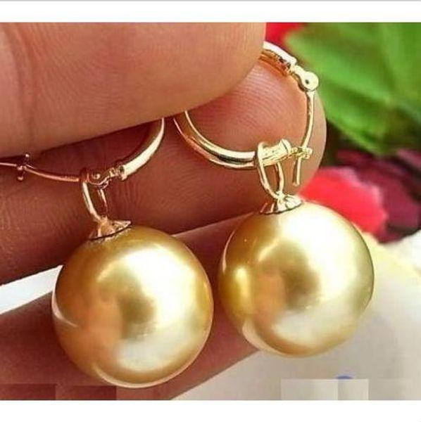 Perfecto redondo AAA15 -16mm Australia sur mar oro perla pendiente 14K
