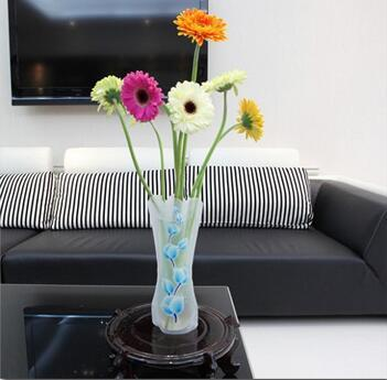 400pcs 12*27cm Creative Clear Eco-friendly Foldable Folding Flower PVC Vase Unbreakable Reusable Home Wedding Party Decoration