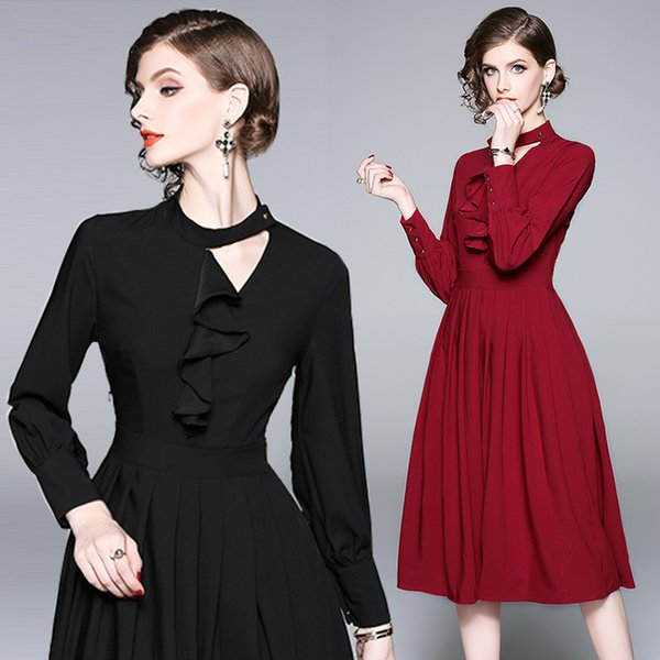 Party Evening Dress Elegant Pleated Dress New Design Hollow Out Crew Neck High Waist Casual Black Dresses