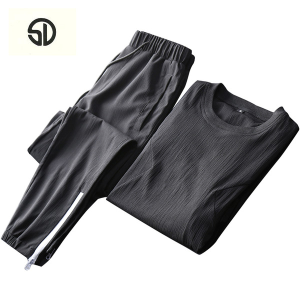 Summer Men Set Sporting Tee + Pants Track Suit Male Two Piece Sweat Suit Quick Drying Homme Tracksuit For Men Moletom Masculino