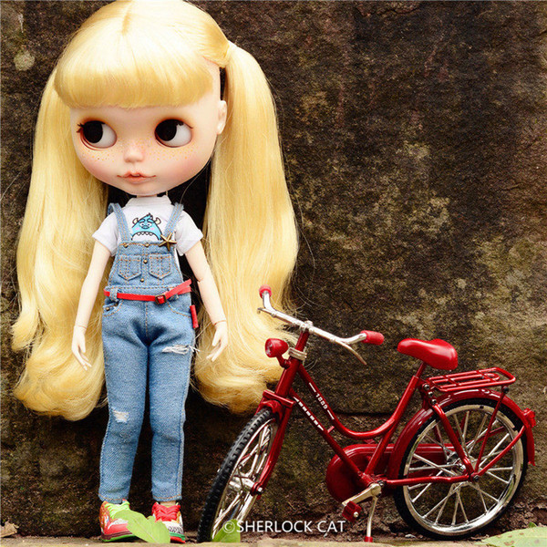 1/8 scale classic metal red bicycle bike model for 1/6 BJD SD blyth female dolls accessories action figure accessories