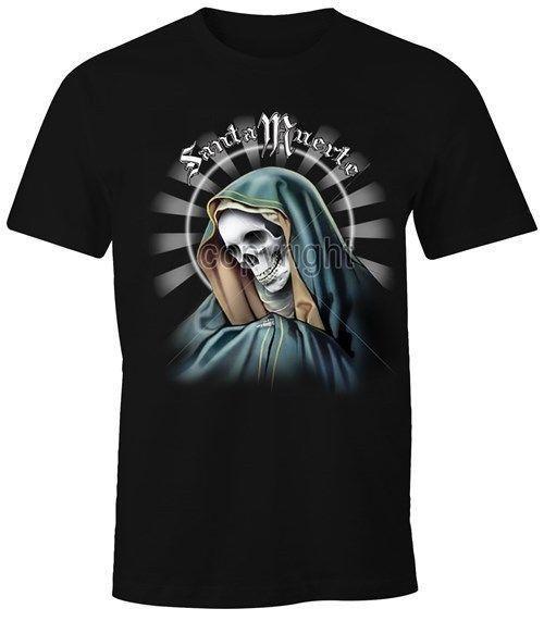 Herren T-Shirt - Santa Muerte Totenkopf Skull - MoonWorks Classic Quality High t-shirt Style Round Style tshirt Tees Custom Jersey t shirt