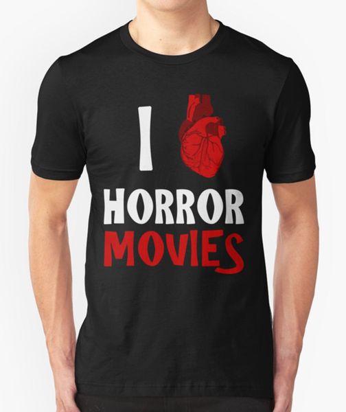 I LOVE HORROR MOVIES T SHIRT CUORE CULT FILM HALLOWEEN COMPLEANNO REGALO PRESENTE
