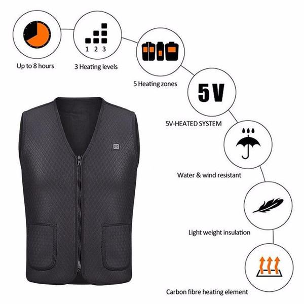 1PC Unisex Black Electric USB Heated Warm Vest Heating Coat Jacket Clothing Skiing Racing Motorcross Motorcycle Body Back Armors