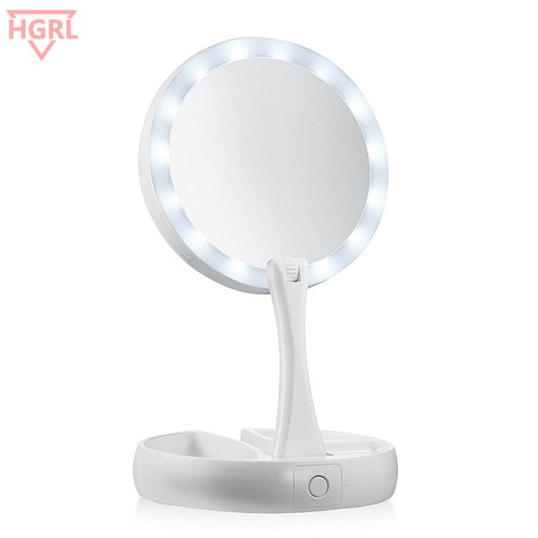 10x Magnifying Makeup Mirror.Foldable Led Lighted Makeup Mirror 10x Magnifying Vanity Mirrors Tri Fold Desktop Makeup Mirror Make Up Tool With Storage Box Art Deco Mirrors Bedroom