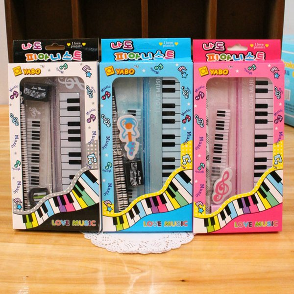Kawaii Music Stationery Sets Kid's Piano Pencil Box Ruler Sharpener Eraser Pencil Sets School Students Gifts Bonus Musicial Box