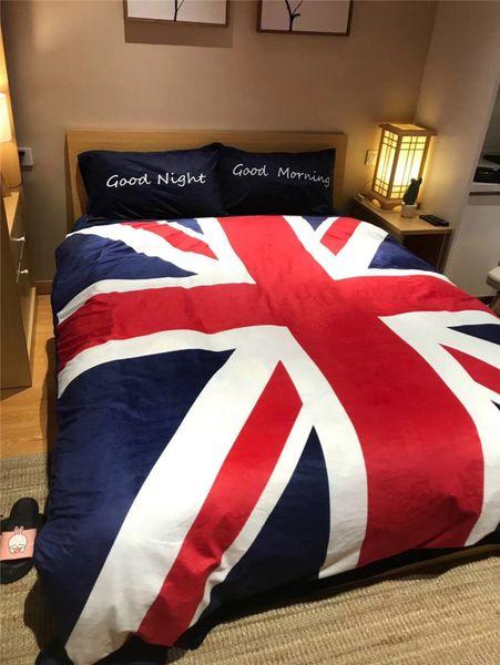 Großhandel Britischen Stil Streifen Flagge Bettwäsche Double Side Fleece Stoffe Mode Bett Herbst Und Winter Bettwäsche Sets Von Shopifyworld 1990