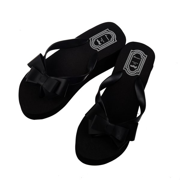 5104c39361591 Ladies Summer Platform Flip Flops Thong Wedge Beach Sandals Knot Bow Shoes  Black 4size