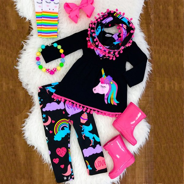 2018 Spring Girls Cotton Unicorn Pattern Printed Black Shirt + Black Flowers Prined Lace Pants Suits Children Suits 90-130cm 5 sets a lot