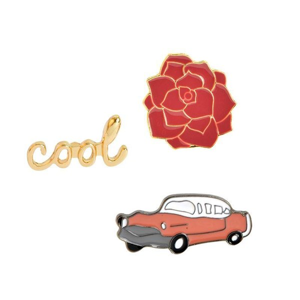 Wholesale- 1 pcs Cool Rose Flower Car Brooch Pins Button Vintage Enamel Brooches for Women Men Jean Bag Jacket Collar Badge Fashion Jewelry