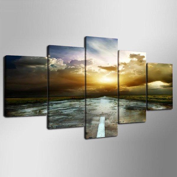 5 Panels Canvas Print Art Sunrise Landscape for Bedroom Decoration Water Painting (Unframed/Framed)