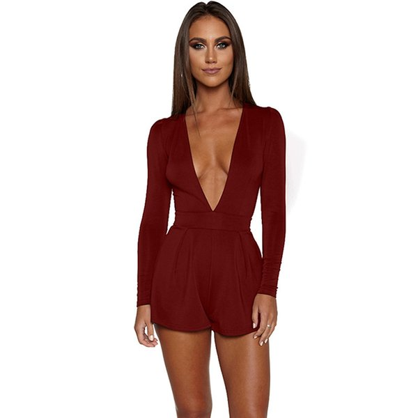 a42d5dac2b Wholesale free shipping sexy deep V neck bodycon rompers back zipper shorts  full sleeve womens jumpsuit