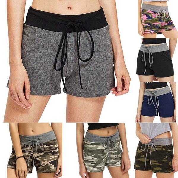Adjustable Running Shorts Women Yoga Loose Sport Wear High Elastic Camouflage Jogging Fitness Shorts Female Quick Dry Short