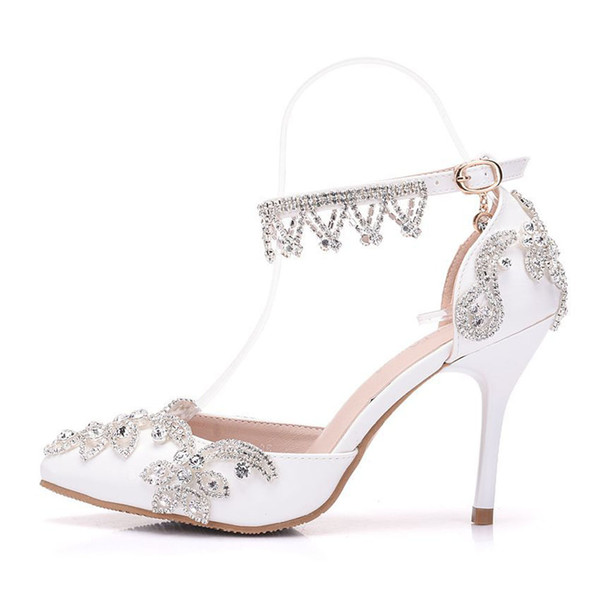 New Fashionl sexy pointed toe shoes for women White rhinestone high heel wedding shoes thick heels Beautiful Crystal chain Plus Size Shoes