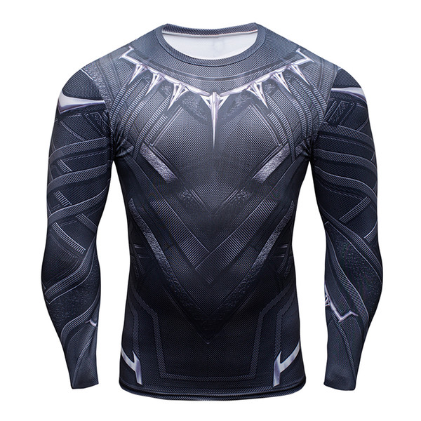 3d black panther t-shirt compression long sleeve t shirt men fashion bodybuilding crossfit tshirt fitness clothing, White;black