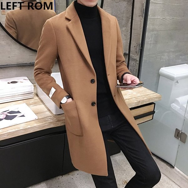 LEFT ROM Fashion men keep warm in winter slim Fit pure color Cashmere coat/male high-grade leisure long jackets size S-XXXL