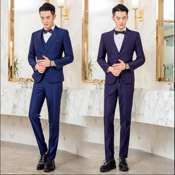 Alta calidad ajuste ajuste versión coreana de buena calidad trajes de lana de bambú antiarrugas negocios informal profesional smokinges para la venta