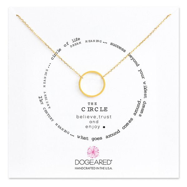 Dogeared Lucky Choker Necklaces with Card Gold Silver Circle Pendant Necklace For Fashion women Jewelry KARMA